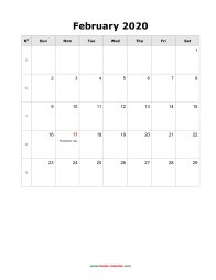 blank february holidays calendar 2020 portrait