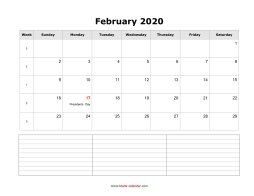 blank february calendar 2020 with notes landscape