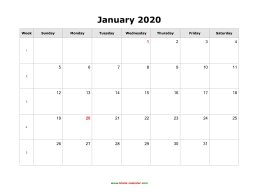 January 2020 Blank Calendar (horizontal)