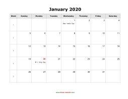 January 2020 Calendar Word Doc January 2020 Blank Calendar | Free Download Calendar Templates