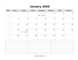 january 2020 blank calendar calendar notes blank landscape
