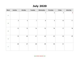 July 2020 Blank Calendar (horizontal)