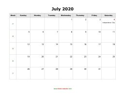 July 2020 Blank Calendar with US Holidays (horizontal)