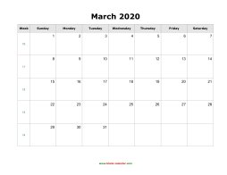 blank march holidays calendar 2020 landscape