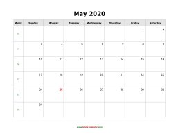May 2020 Blank Calendar (horizontal)
