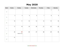 May 2020 Blank Calendar with US Holidays (horizontal)