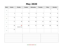 blank may calendar 2020 with notes landscape
