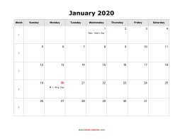 Blank 2020 Monthly Calendars Blank Calendar 2020 | Free Download Calendar Templates