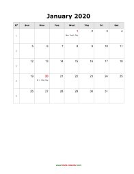 Blank Calendar 2020 (US Holidays, 12 pages, vertical)