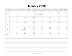 blank monthly calendar 2020 with notes landscape