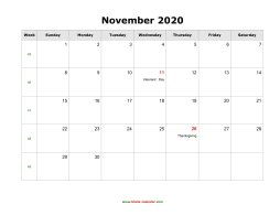 November 2020 Blank Calendar with US Holidays (horizontal)