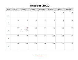October 2020 Blank Calendar with US Holidays (horizontal)