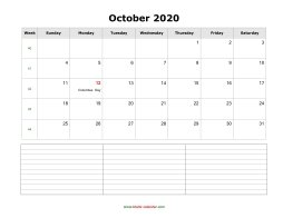 october 2020 blank calendar calendar notes blank landscape