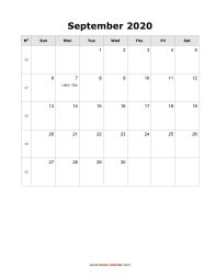 blank september holidays calendar 2020 portrait