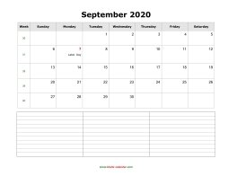 blank september calendar 2020 with notes landscape