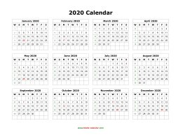 2020 Yearly Calendar Template Word Blank Calendar 2020 | Free Download Calendar Templates