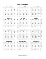 blank calendar 2020 yearly calendar blank portrait