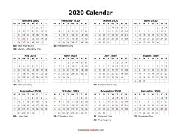2020 Yearly Calendar Free Blank Calendar 2020 | Free Download Calendar Templates