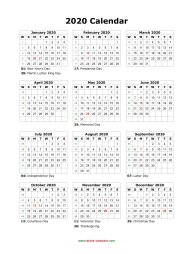 Blank Calendar 2020 (US Holidays, one page, vertical)