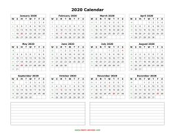 blank calendar 2020 yearly calendar notes blank landscape