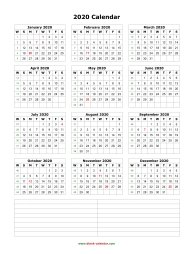 blank calendar 2020 yearly calendar notes blank portrait