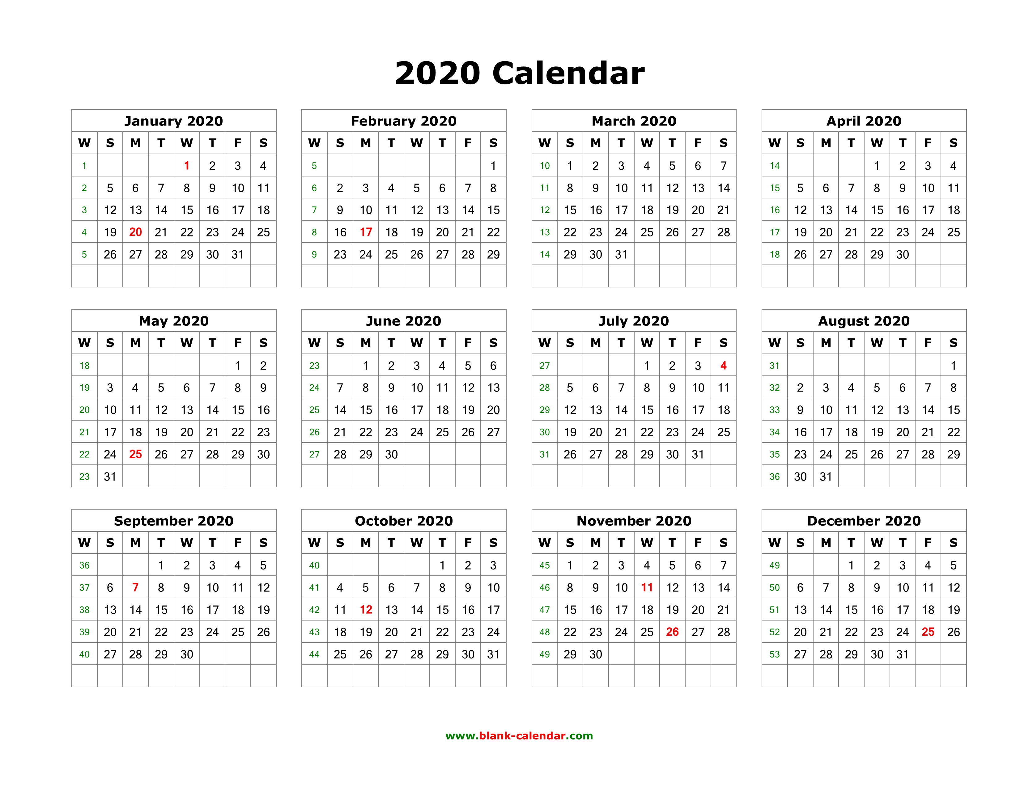 12 Month Printable Calendar 2020 Download Blank Calendar 2020 (12 months on one page, horizontal)