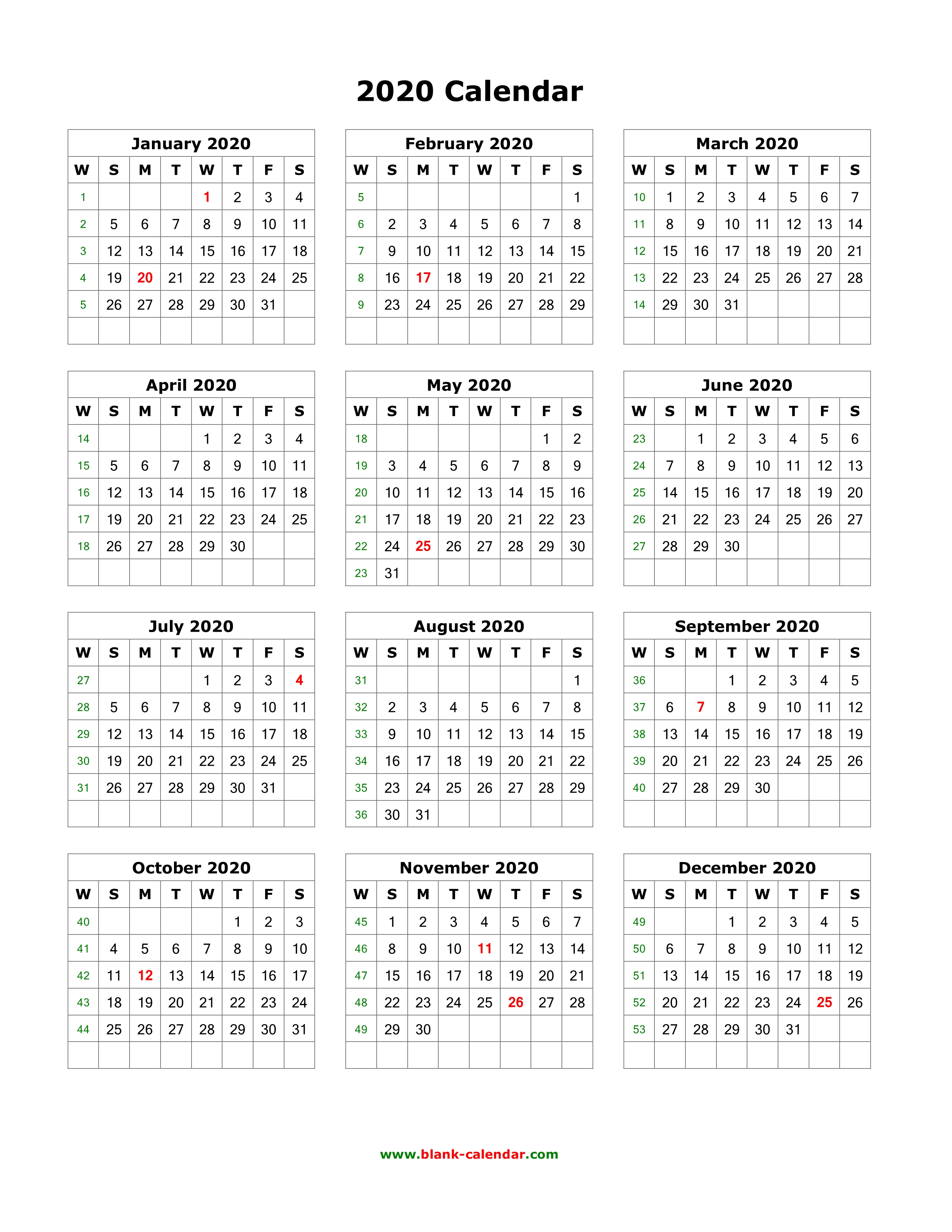 12 Month Printable Calendar 2020 Download Blank Calendar 2020 (12 months on one page, vertical)