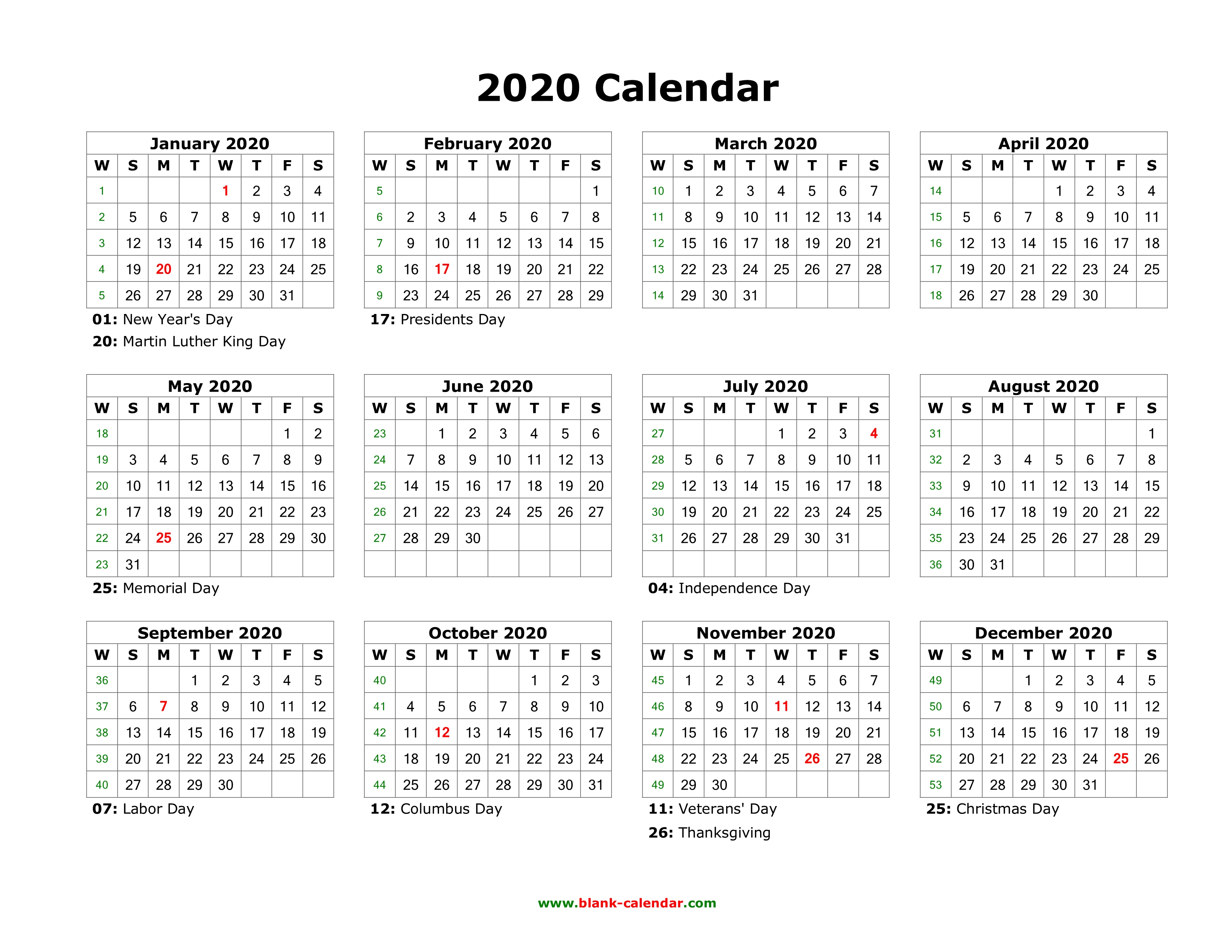 Printable Year Calendar 2020 Download Blank Calendar 2020 with US Holidays (12 months on one