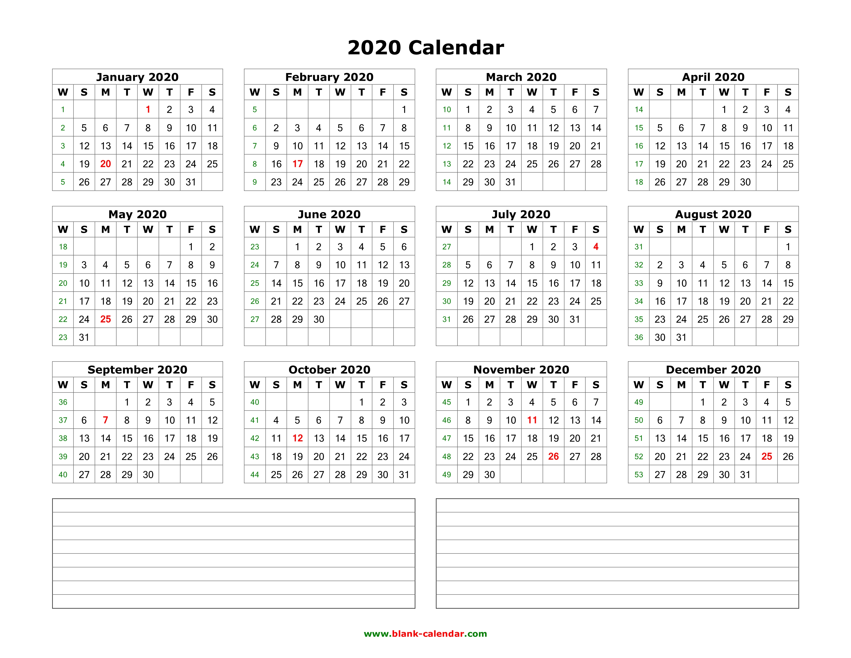 Blank 2020 Year Calendar Download Blank Calendar 2020 with Space for Notes (12 months on