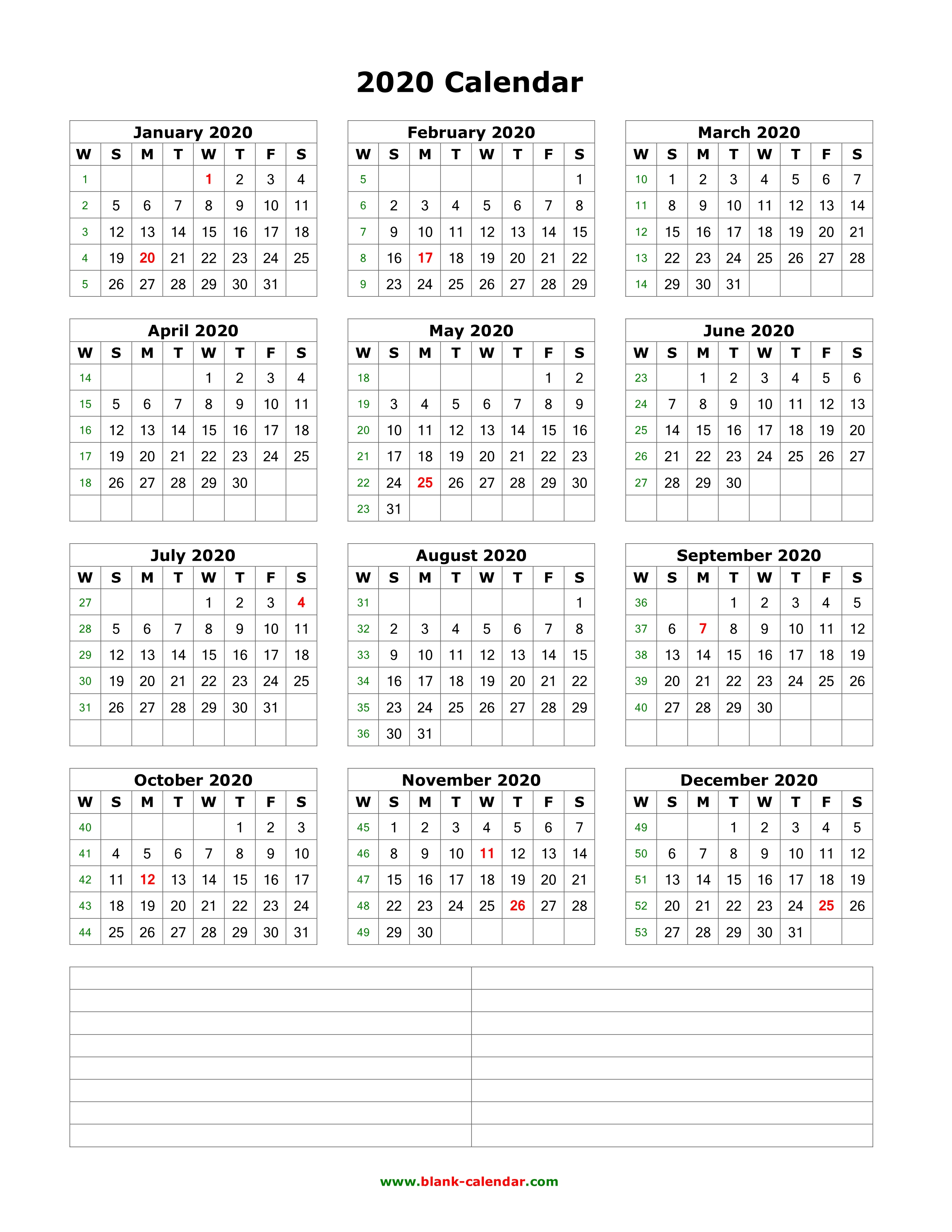 12 Month Printable Calendar 2020 Download Blank Calendar 2020 with Space for Notes (12 months on