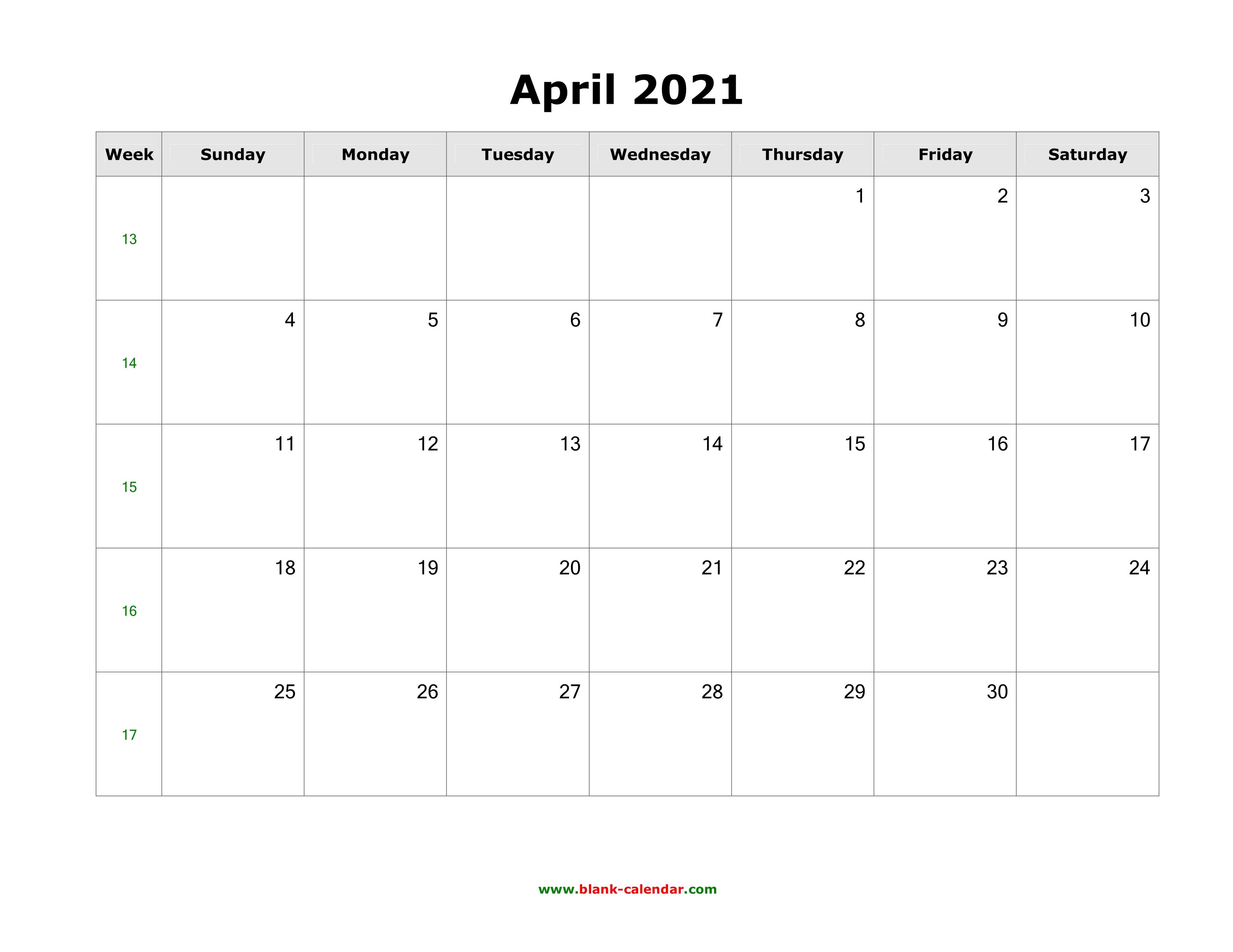 April 2021 Blank Calendar   Free Download Calendar Templates