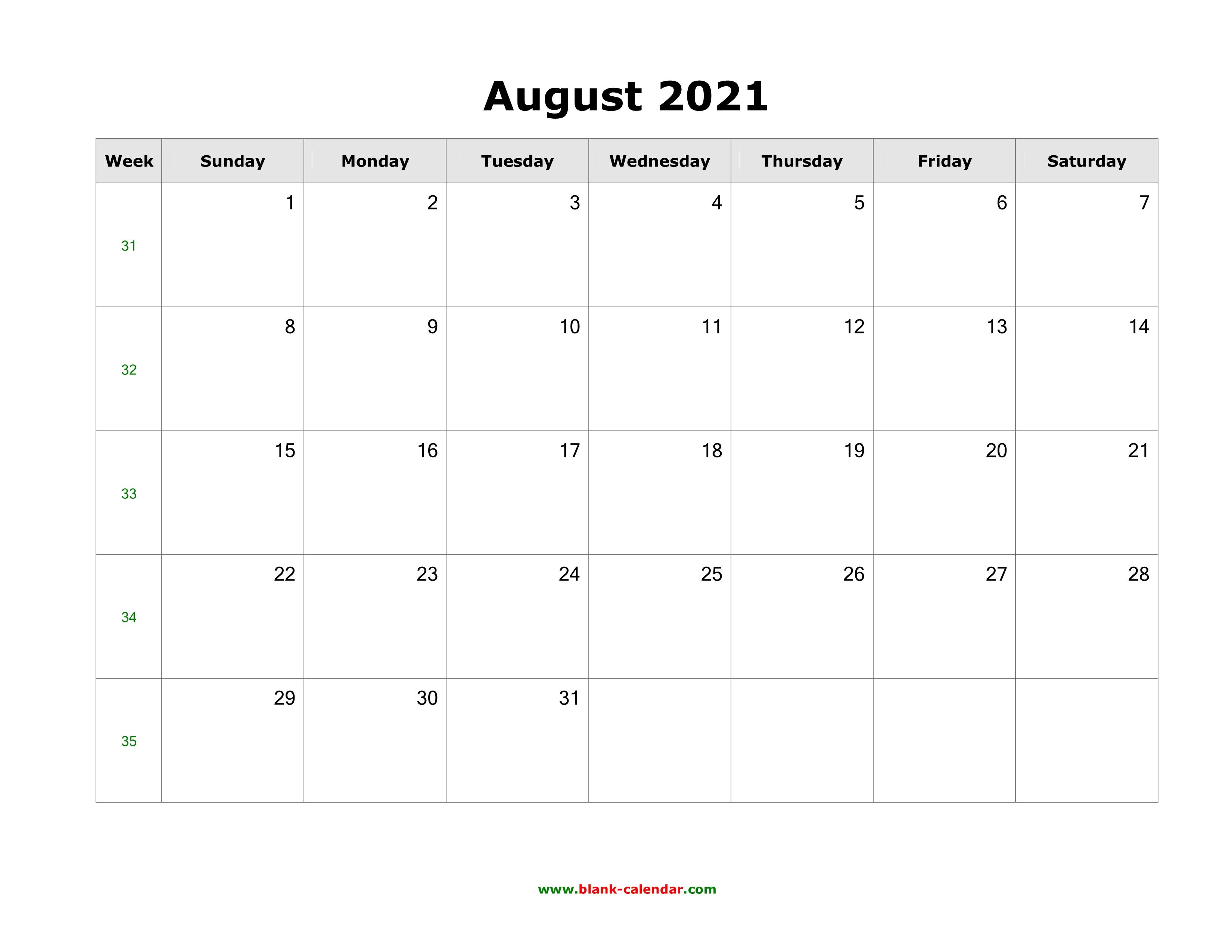 Download August 2021 Blank Calendar (horizontal)