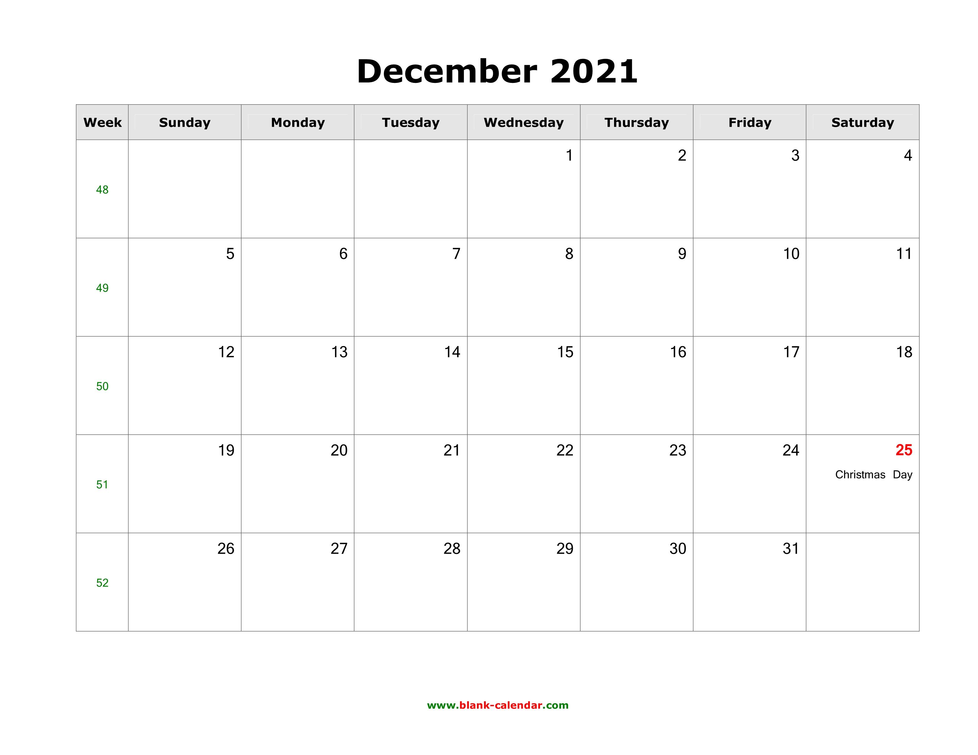 December 2021 Blank Calendar | Free Download Calendar ...