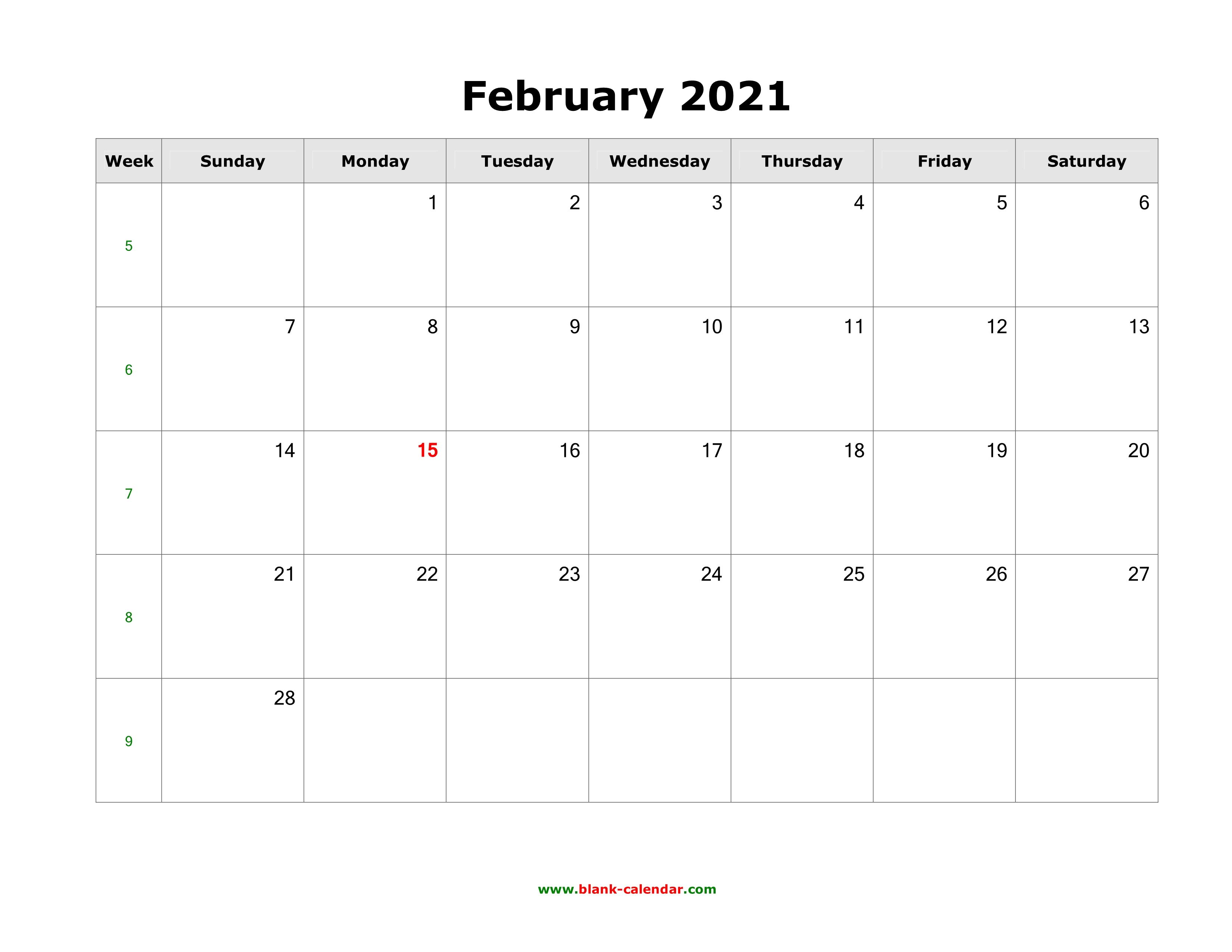 Download February 2021 Blank Calendar (horizontal)