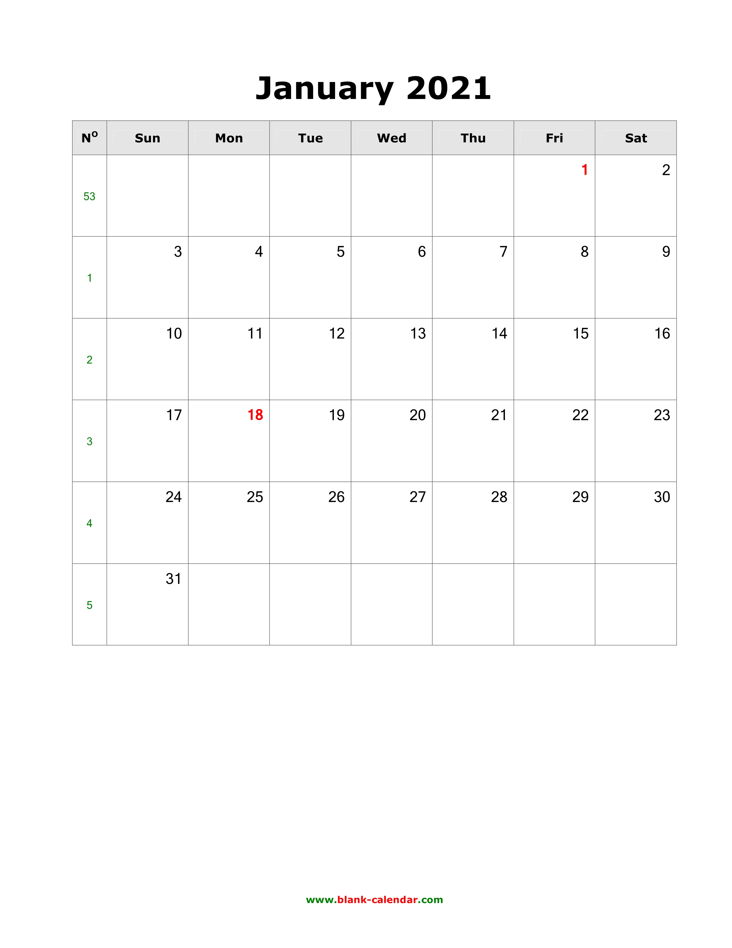 Download Blank Calendar 2021 (12 pages, one month per page ...