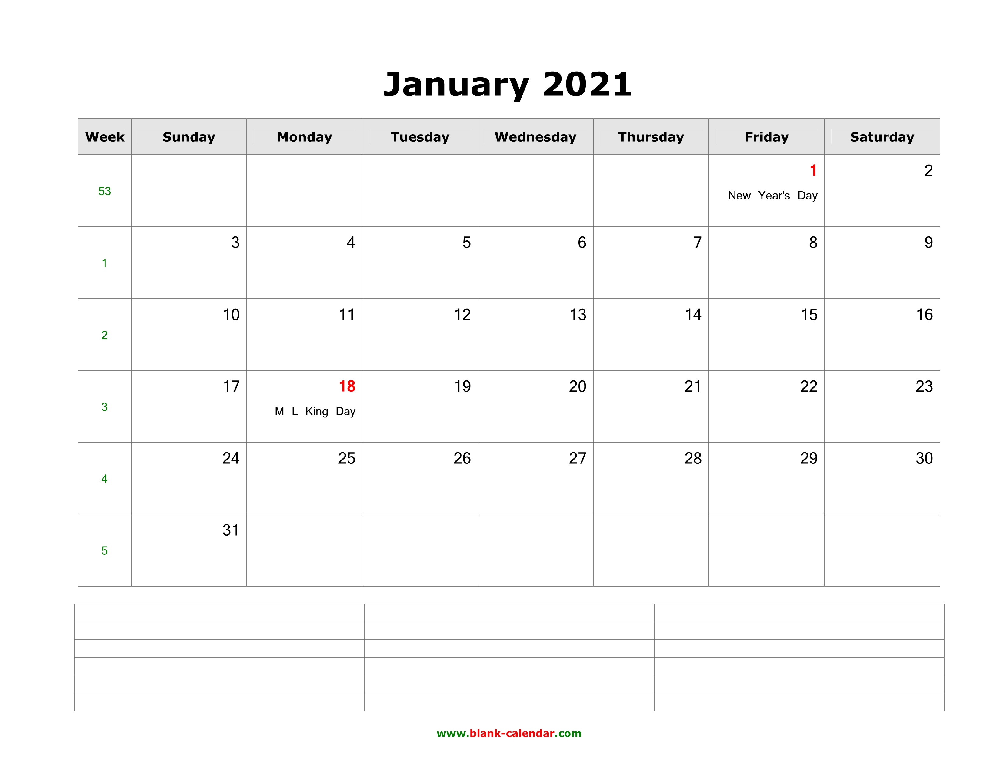 Download Blank Calendar 2021 with Space for Notes (12 ...