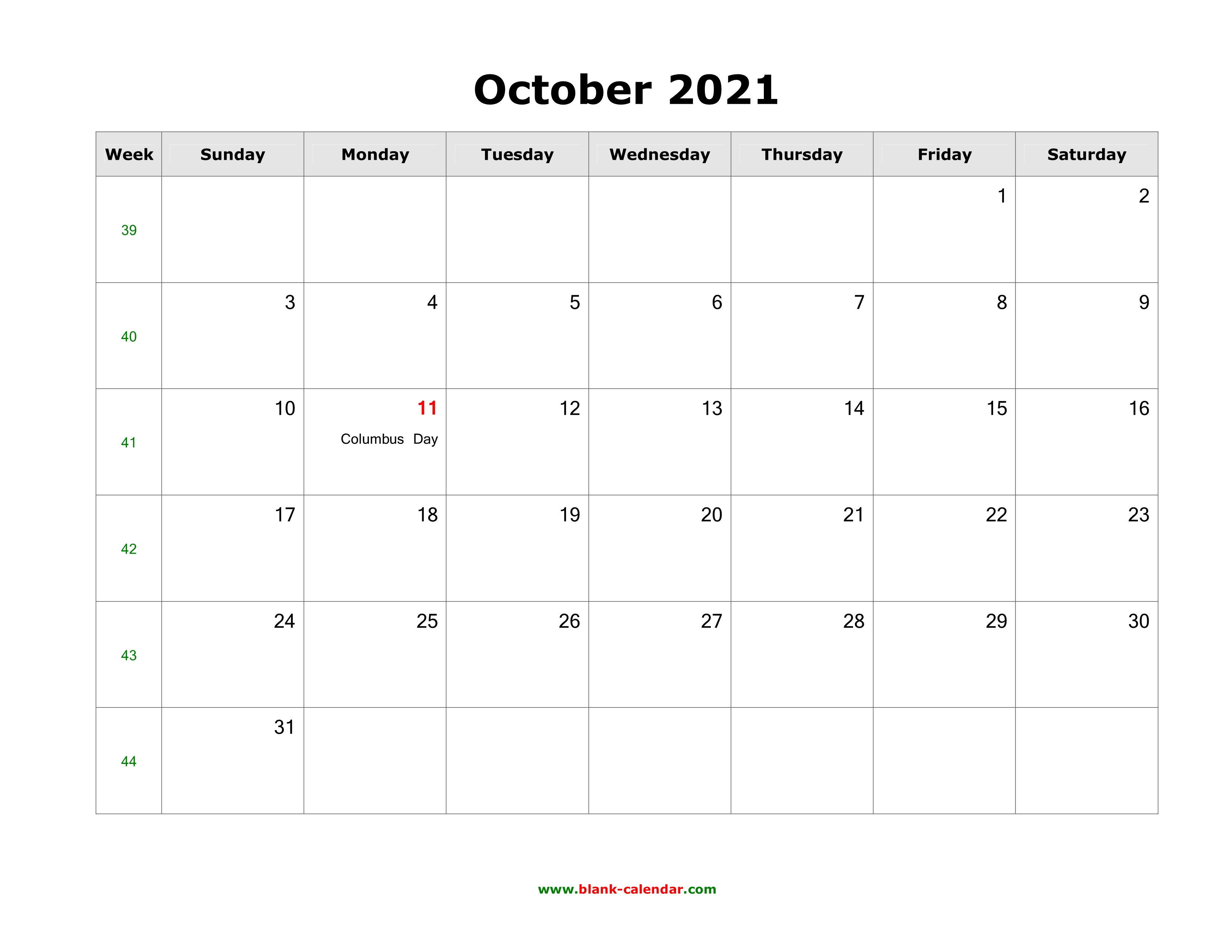 October 2021 Calendar With Holidays Usa Download October 2021 Blank Calendar with US Holidays (horizontal)