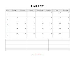 blank april calendar 2021 with notes landscape