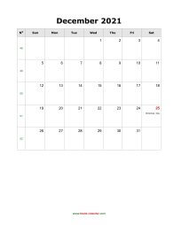 December 2021 Blank Calendar (US Holidays, vertical)