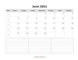 Download June 2021 Blank Calendar (horizontal)