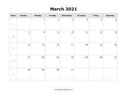 March 2021 Blank Calendar   Free Download Calendar Templates