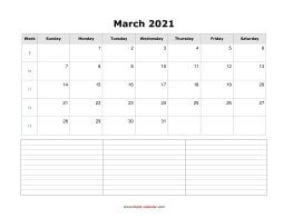 blank march calendar 2021 with notes landscape