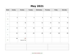 may 2021 blank calendar calendar notes blank landscape