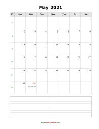 blank may calendar 2021 with notes portrait