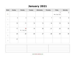 blank monthly calendar 2021 with notes landscape