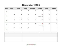 blank november calendar 2021 with notes landscape
