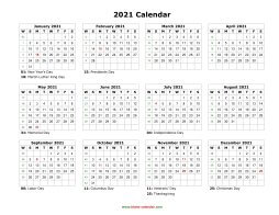 Blank Calendar 2021 (US Holidays, one page, horizontal)