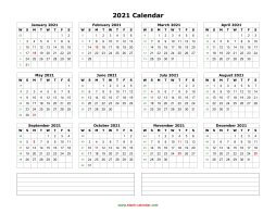 Blank Calendar 2021 (one page, horizontal, space for notes)