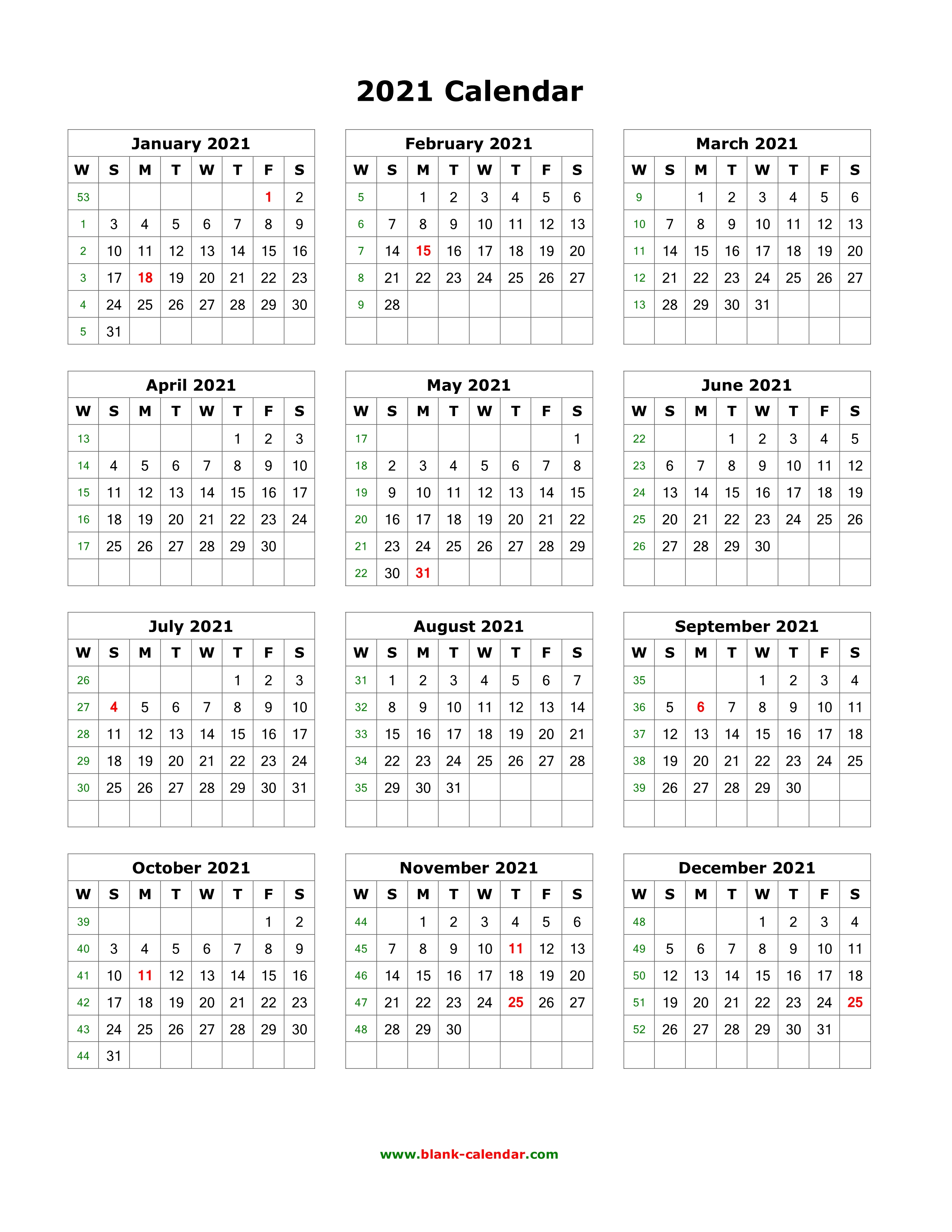 2021 Calendar One Page Vertical | Printable March