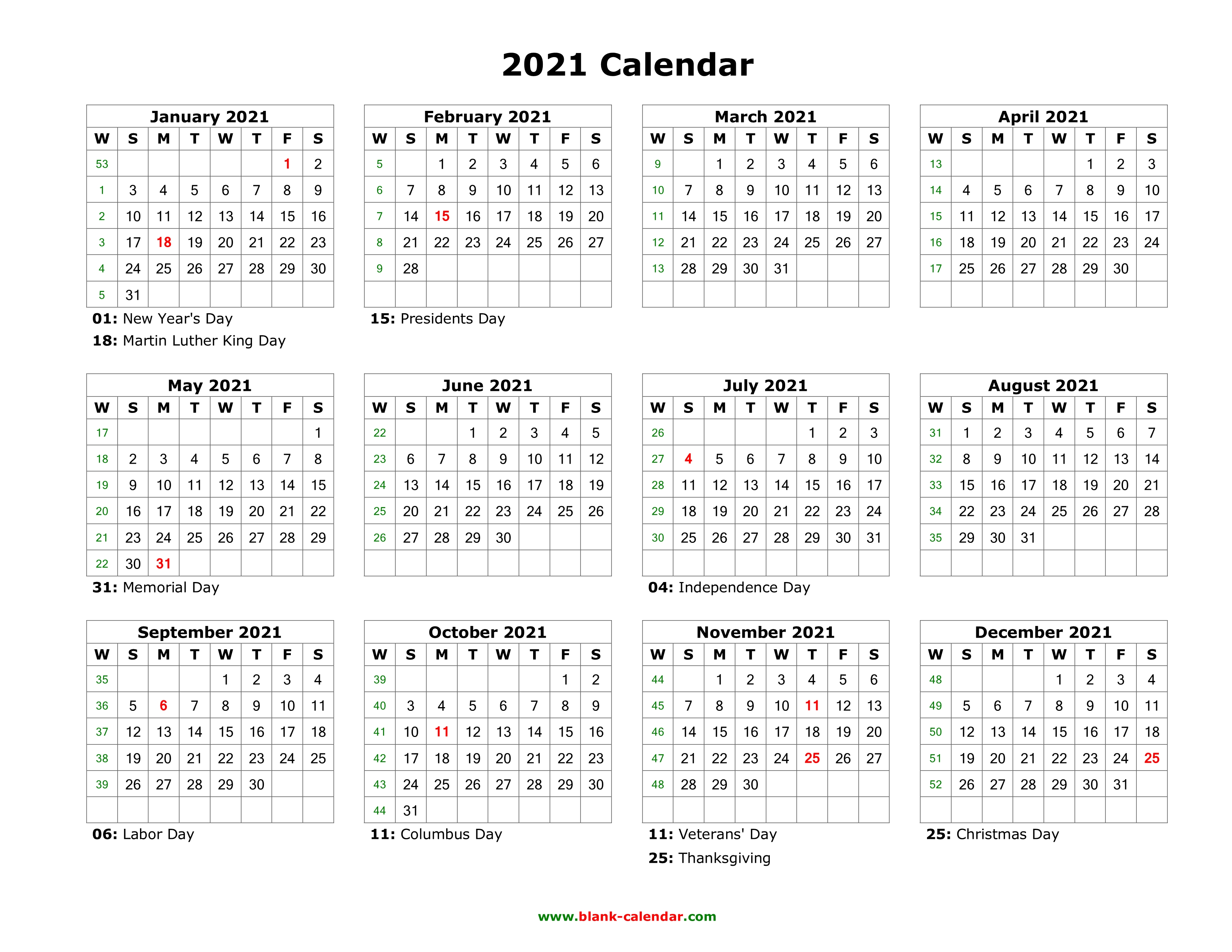 Editable Calendar Template 2021 Blank Calendar 2021 | Free Download Calendar Templates